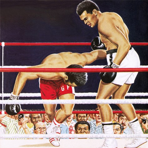 Muhammad Ali Regaining His Crown in the Fight Against George Foreman in 1974 Stretched Canvas Print