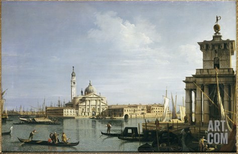The Island of San Giorgio Maggiore, Venice, with the Punta Della Dogana and Numerous Vessels Stretched Canvas Print