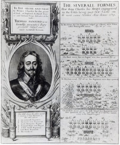 Portrait of King Charles I with Diagrams Showing the Formation of His Troops During  Bishops' War Stretched Canvas Print