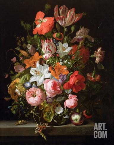 Still Life of Roses, Lilies, Tulips and Other Flowers in a Glass Vase with a Brindled Beauty Stretched Canvas Print