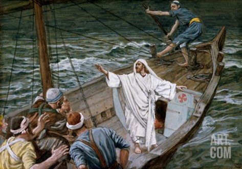 Christ Stilling the Tempest, Illustration for 'The Life of Christ', C.1886-94 Stretched Canvas Print