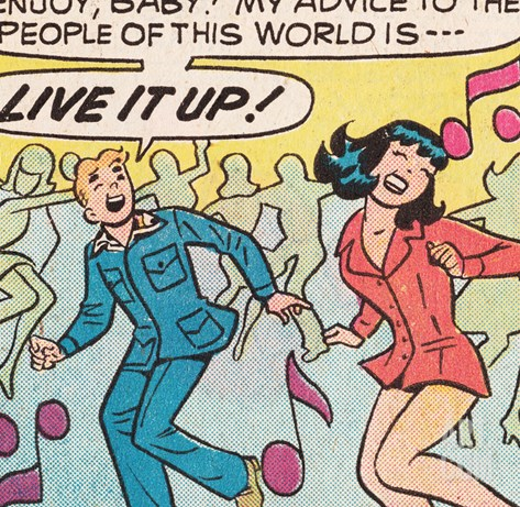Archie Comics Retro: Archie and Veronica Comic Panel; Live it up (Aged) Stretched Canvas Print