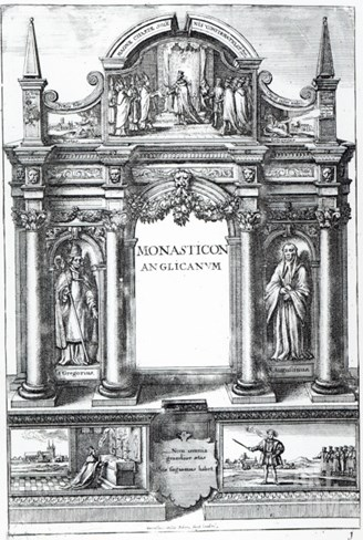 Frontispiece to 'Monasticon Anglicanum' by William Dugdale, C.1718-23 Stretched Canvas Print
