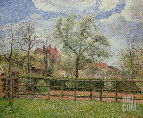 Pear Trees and Flowers at Eragny, Morning, 1886 Stretched Canvas Print