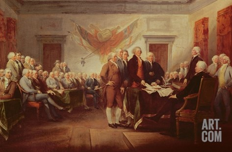 Signing the Declaration of Independence, 4th July 1776, C.1817 Stretched Canvas Print