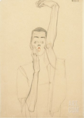Self Portrait with a Raised Arm and Red Mouth, 1909 Stretched Canvas Print
