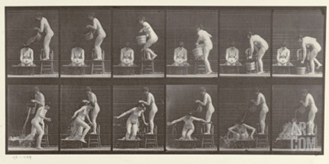 Two Women Bathing, Plate 406 from 'Animal Locomotion', 1887 Stretched Canvas Print