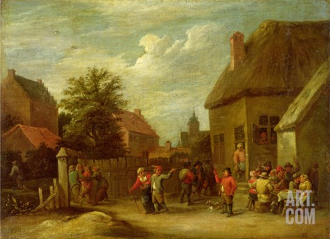 The Courtyard of a Village Inn with a Man Toasting Departing Revellers Stretched Canvas Print