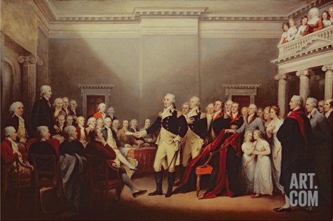 The Resignation of George Washington on 23rd December 1783, C.1822 Stretched Canvas Print