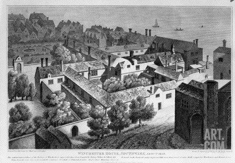 Winchester House, Southwark in About 1649, Published in 1812 Stretched Canvas Print