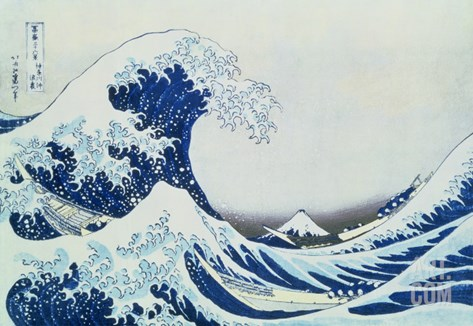 The Great Wave of Kanagawa, from the Series '36 Views of Mt.Fuji' Stretched Canvas Print
