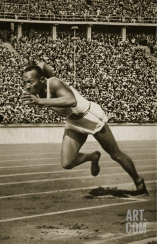 Jesse Owens at the Start of the 200m Race at the 1936 Berlin Olympics Stretched Canvas Print