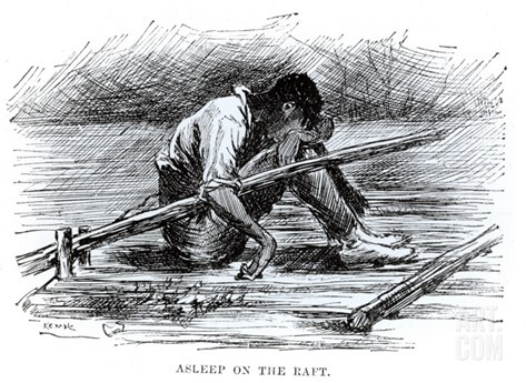 Asleep on the Raft, Illustration from 'The Adventures of Huckleberry Finn', by Mark Twain Stretched Canvas Print