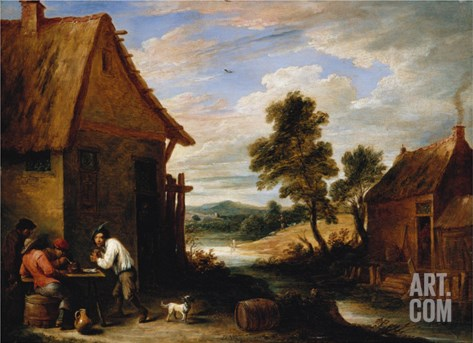 A River Landscape with Peasants Outside a Tavern Stretched Canvas Print