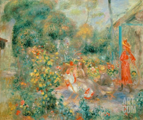 Young Girls in the Garden at Montmartre, 1893-95 Stretched Canvas Print