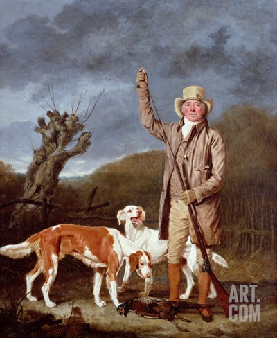 A Sportsman Loading a Flintlock Gun with Two Retrievers and a Dead Pheasant in a Landscape Stretched Canvas Print