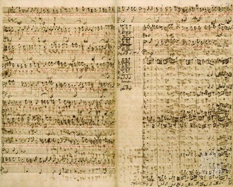 Pages from Score of the 'The Art of the Fugue', 1740S Stretched Canvas Print