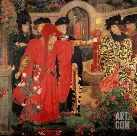 Choosing the Red and White Roses in the Temple Garden, 1910 Stretched Canvas Print