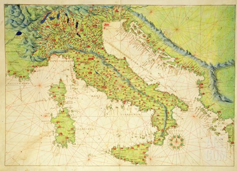Italy, from an Atlas of the World in 33 Maps, Venice, 1st September 1553 Stretched Canvas Print