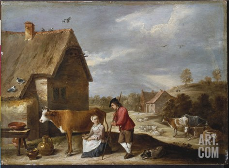A Milkmaid and a Shepherd Outside a Cottage, Late 1640S Stretched Canvas Print