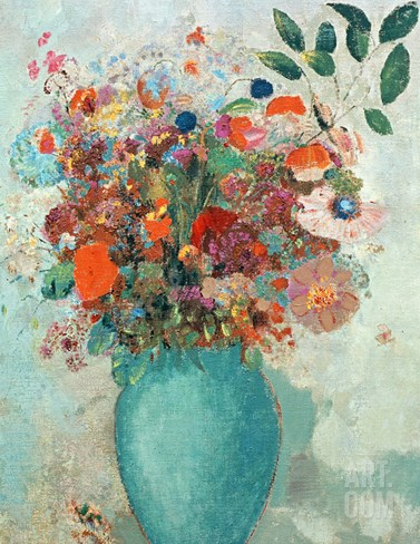 Flowers in a Turquoise Vase, C.1912 Stretched Canvas Print