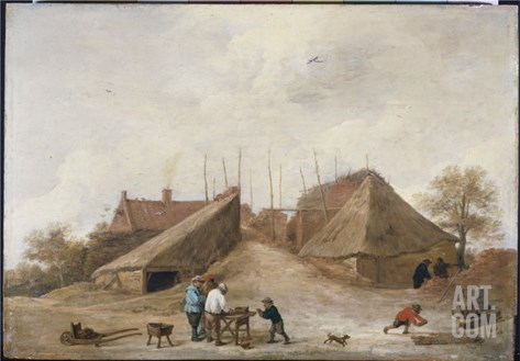 A Farm Yard with Figures Round a Table Stretched Canvas Print