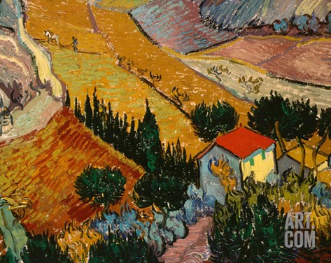 Landscape with House and Ploughman, 1889 Stretched Canvas Print