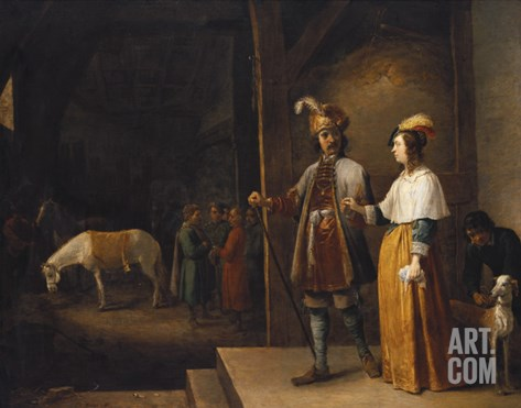 A Lady and a Gentleman Entering a Stable Stretched Canvas Print