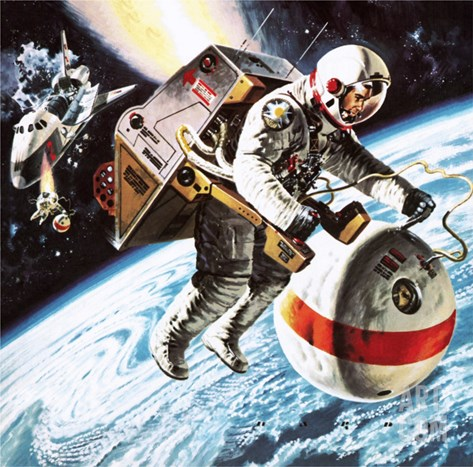 Lifeboats' in Space, as Imagined in 1976 Stretched Canvas Print