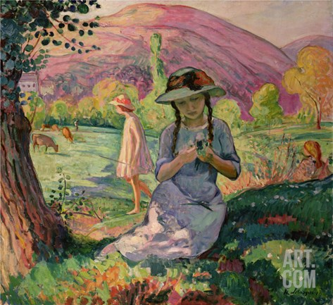 Young Girl Picking Flowers, 1910 Stretched Canvas Print