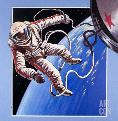 Space-Walk, from 'Famous Firsts' Stretched Canvas Print