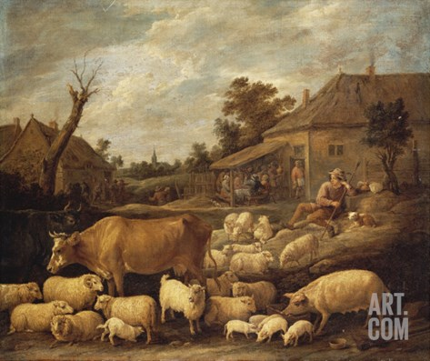 A Shepherd and His Flock by a Tavern Stretched Canvas Print