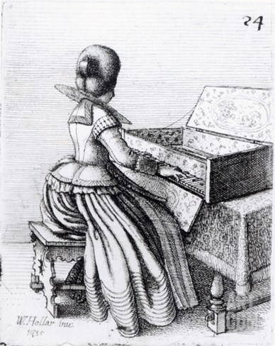Woman Playing at a Keyboard, 1635 Stretched Canvas Print