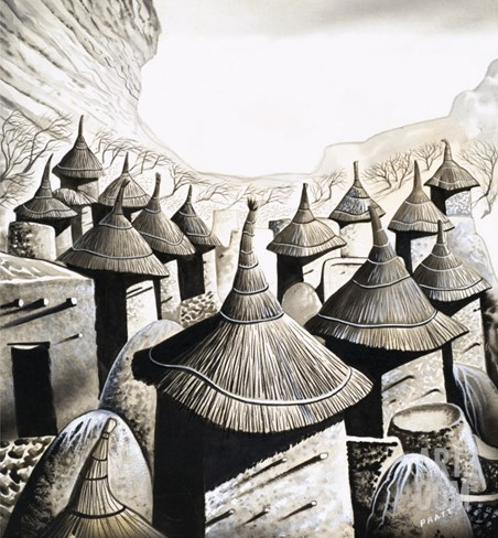 Primitive Homes: the Roof Tops of the Banani Stretched Canvas Print