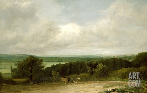 Wooded Landscape with a Ploughman Stretched Canvas Print