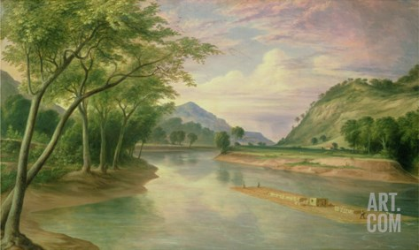 Ohio River Near Marietta, 1855 Stretched Canvas Print