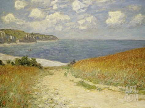 Path in the Wheat at Pourville, 1882 Stretched Canvas Print