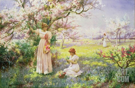 Spring: Picking Flowers, 1898 Stretched Canvas Print