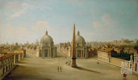 A View of the Piazza Del Popolo Stretched Canvas Print