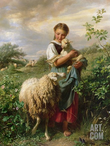 The Shepherdess, 1866 Stretched Canvas Print