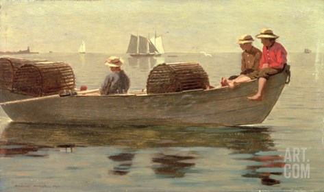 Three Boys in a Dory, 1873 Stretched Canvas Print