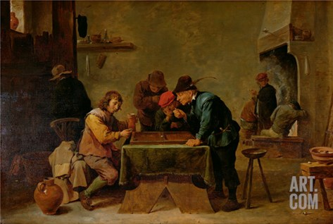 Backgammon Players, C.1640-45 Stretched Canvas Print