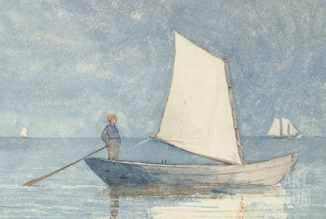 Sailing a Dory, 1880 Stretched Canvas Print