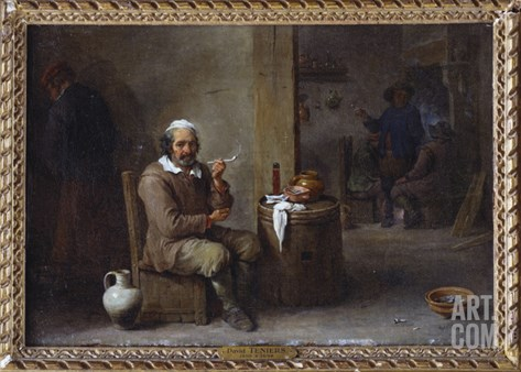 A Peasant Smoking in an Inn Stretched Canvas Print