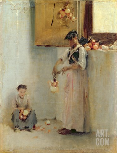 Stringing Onions, C.1882 Stretched Canvas Print