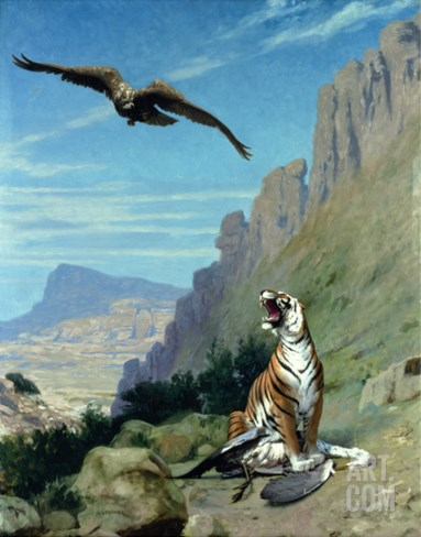 Tiger and Vulture Stretched Canvas Print