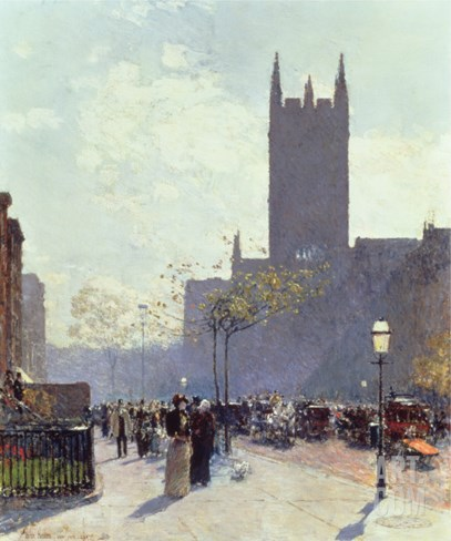 Lower Fifth Avenue, 1890 Stretched Canvas Print
