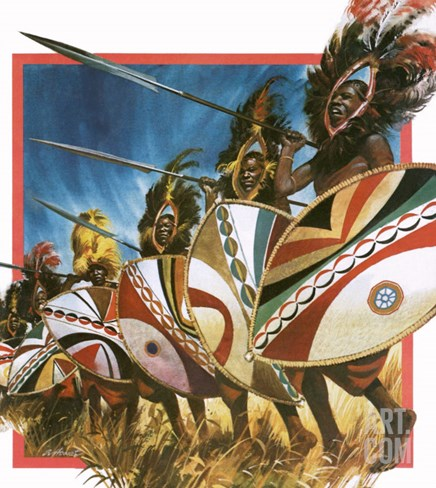 Masai Warriors Stretched Canvas Print