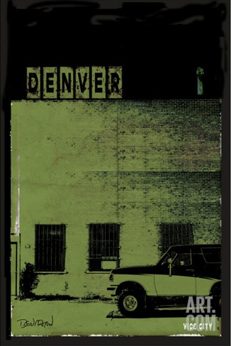 Vice City - Denver Green Stretched Canvas Print