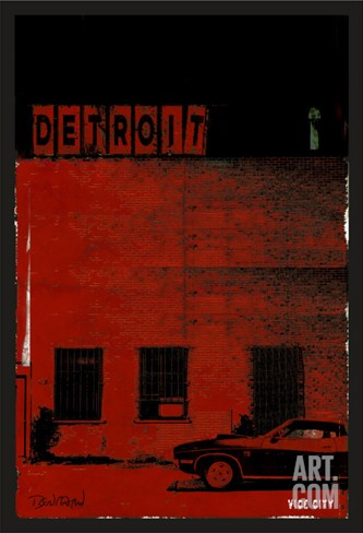 Vice City Detroit- Red Stretched Canvas Print